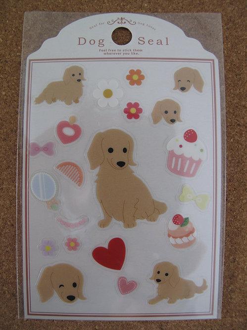 D00151 Dog Seal 臘腸犬 (淺啡色) 貼紙