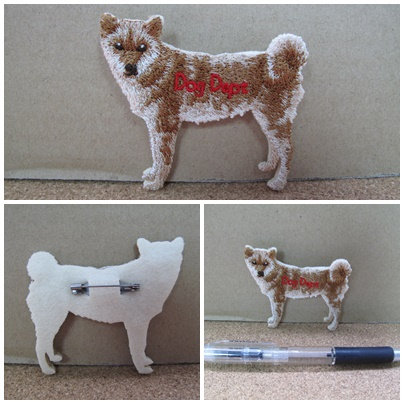 D00786 Dog Dept 刺繡柴犬扣針