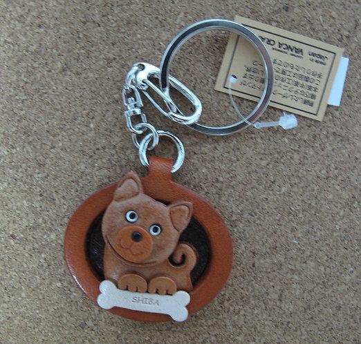 D00697 Vanca 赤柴皮革圓型匙扣