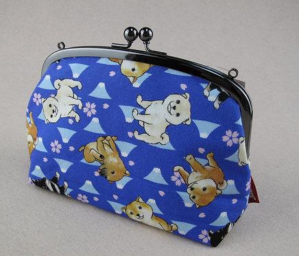 D01243 Pet Lovers 柴犬富士山圖案大啪啪袋 (藍)