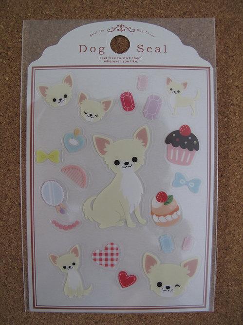 D00142 Dog Seal 芝娃娃 (白色) 貼紙