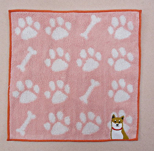D02401_1 柴犬綿方巾_赤柴粉紅
