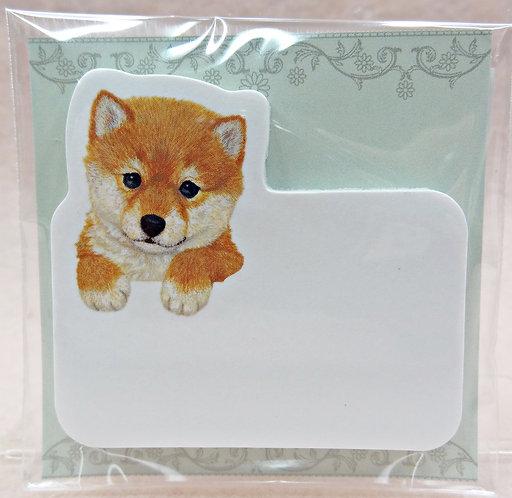D02261 Puppies sticky memo pad_shiba