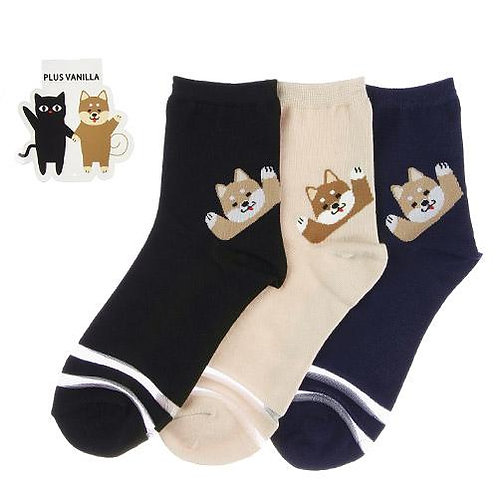 D02317 Plus Vanilla柴犬襪