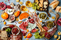 Appetizers table with antipasti snacks a