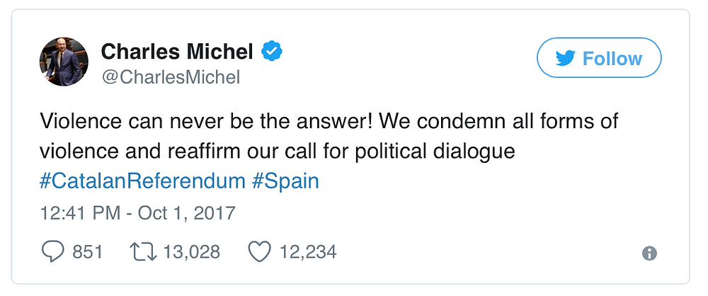 Charles Michel was the first world leader to speak up and might well lose a few friends because of it.