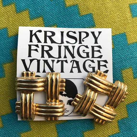 1960's Ornate Gold Lattice Clip On Earrings