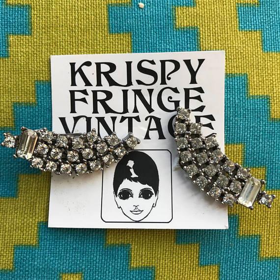 Vintage 1940's Trickling Rhinestone Clip On Earrings