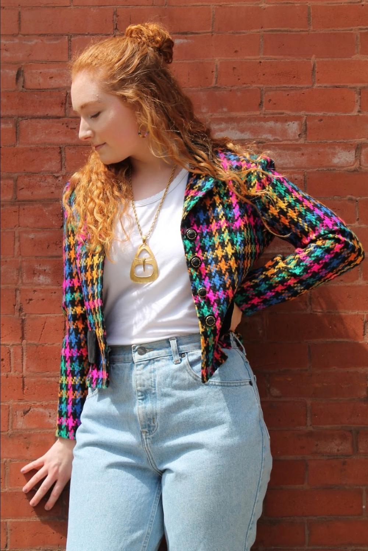 Vintage 1980's Houndstooth Multi Colored Blazer