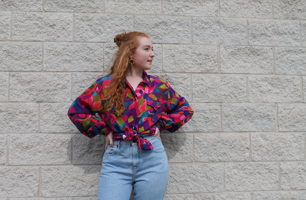 Vintage 1980's Multi Colored Geometric Button Up