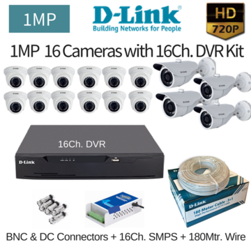 D-Link 1MP 16HD CCTV Camera with 16Ch. DVR Combo Kit