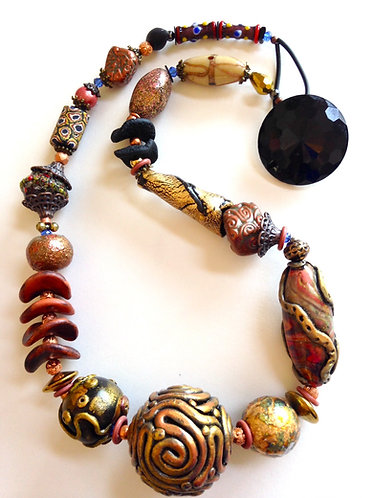 Large copper and bronze beaded necklace