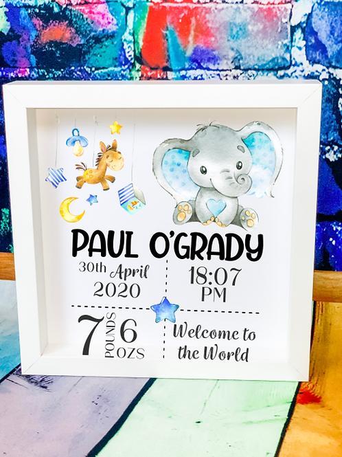 New Baby Boy Birth Announcement Box Frame - Elephant Design