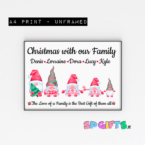 Personalised Family Gnome Print