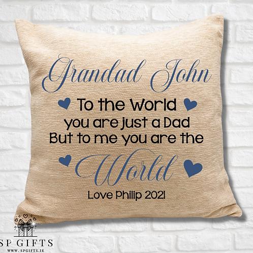 Grandad - To the world Cushion