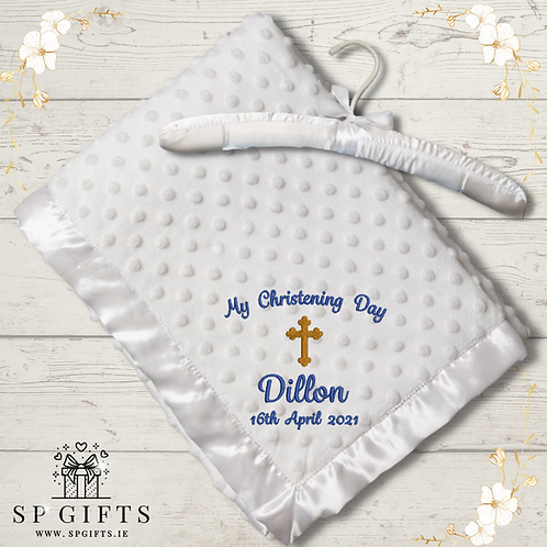 White Luxury Christening Ultra Soft Dimple Wrap - on a Satin Padded