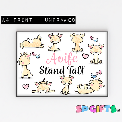 Kawaii Giraffe Print - A4 Bedroom Wall print
