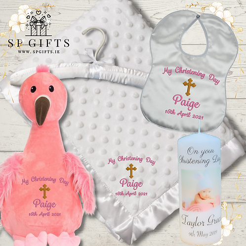 The Flamingo Deluxe Teddy Dimple Satin Trim Christening - Delivery Box