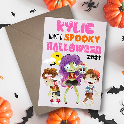 Halloween Card - Spooky Zombie Pink