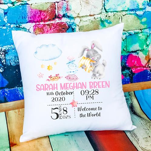 New Baby Girl Birth Announcement Cushion - Bunny Design