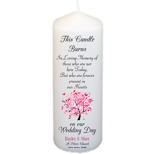 Pink Tree Memorial Candle