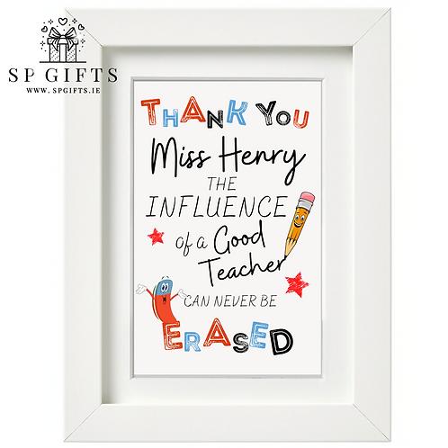 The Influence of a Good Teacher White Frame