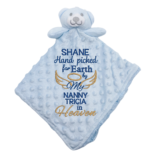 Hand Picked for Earth Soft Double Sided Baby Comforter Blue