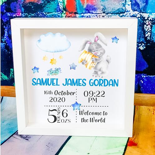 New Baby Boy Birth Announcement Box Frame - Bunny Design
