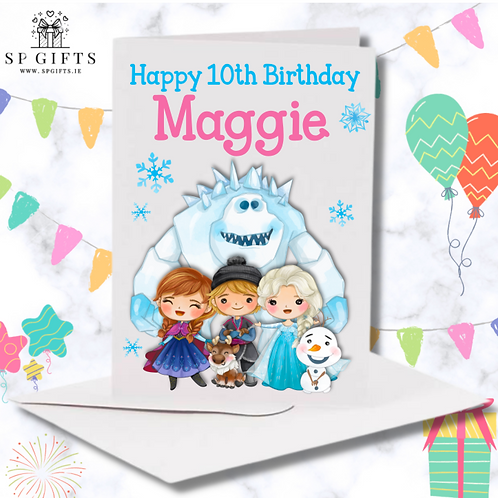 Frozen Inspired Personalised Birthday Card