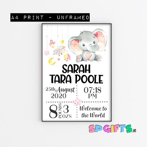 Baby Girl Personalised Elephant Print- A4 Bedroom Nursery Wall print