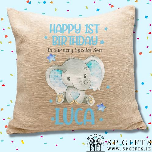 Sweet Baby Boy Elephant Personalised Cushion