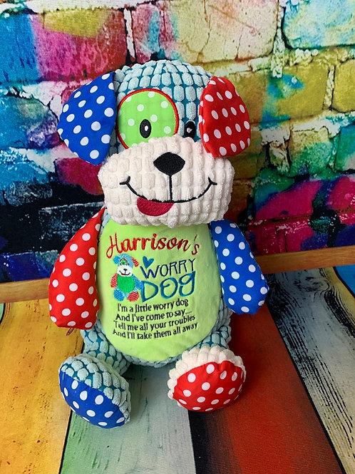 Personalised Worry Dog Harlequin Teddy
