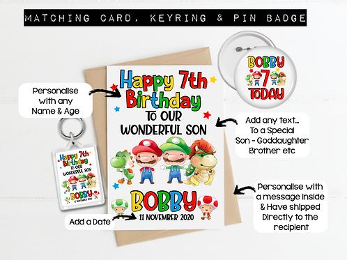Mario Inspired Birthday Card Pack