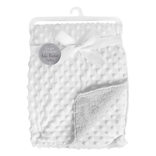Bubble Mink Sherpa Baby Blanket - White