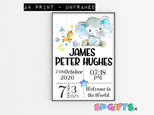 Baby Boy Personalised Elephant Print- A4 Bedroom Nursery Wall print