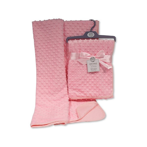 Baby Velour Bubble Wrap with Cotton Back- Pink