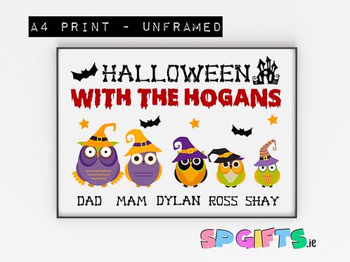 Personalised Family OWL  Halloween print