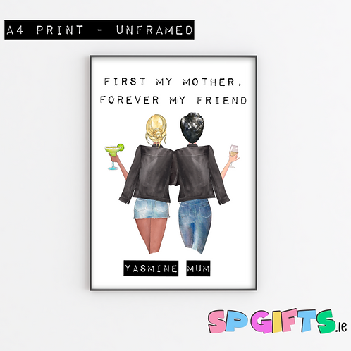 Personalised Mother & Daughter Print - A4 Print