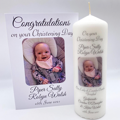 Photo Christening Candle & Card