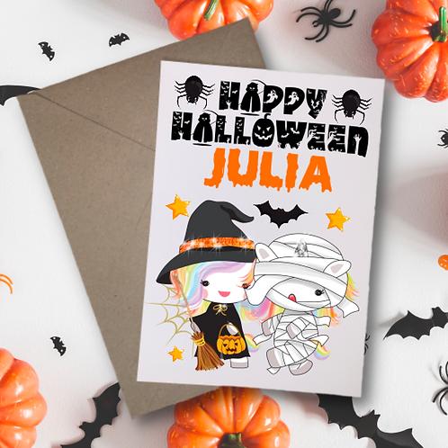 Unicorns Halloween Card