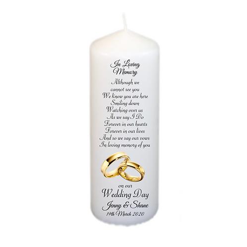 Gold Rings Memorial Candle