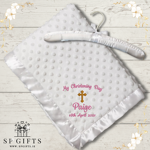 Baby White Luxury Christening Ultra Soft Dimple Wrap - on a Satin Padded Hanger