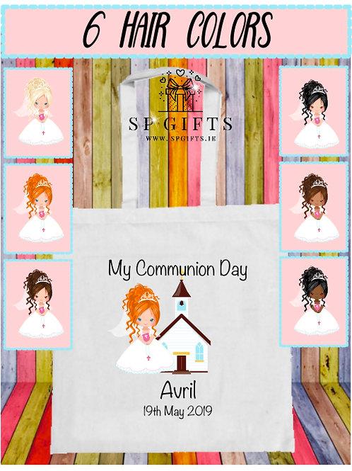Personalised Girls Communion Tote Bag