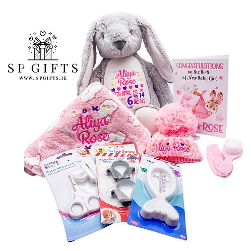 New Baby Essentials Delivery Box - Blue or Pink - 7 Teddies Available