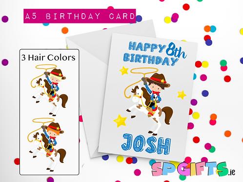 Cow Boy Birthday Card