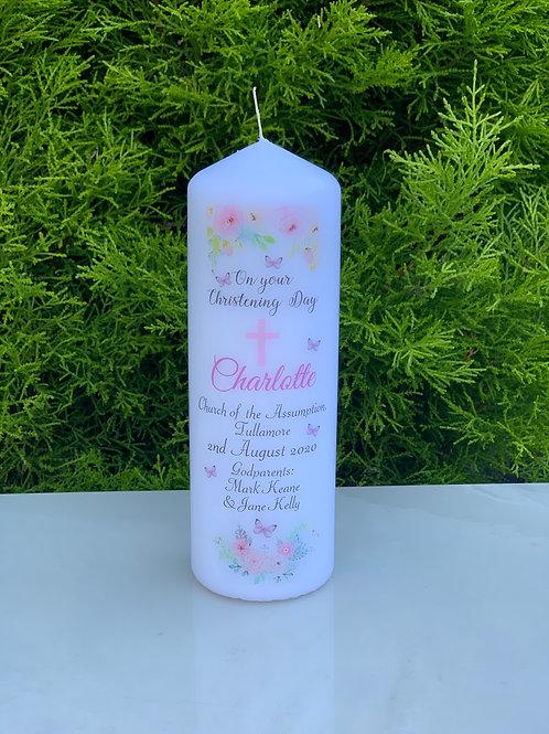 Christening Candle - Pink Floral Design