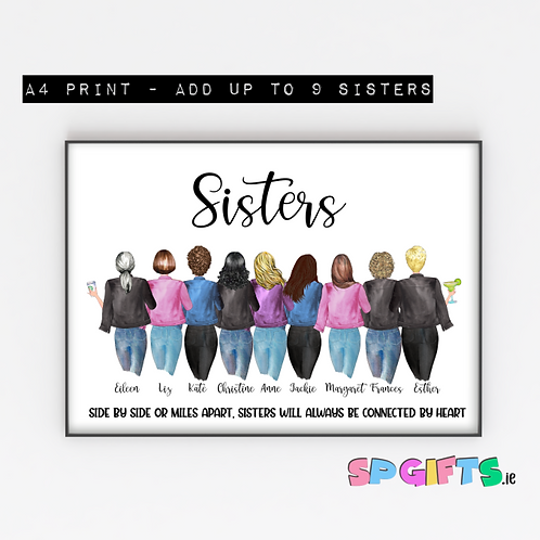 Sisters Print - A4 Print - up to 9 sisters