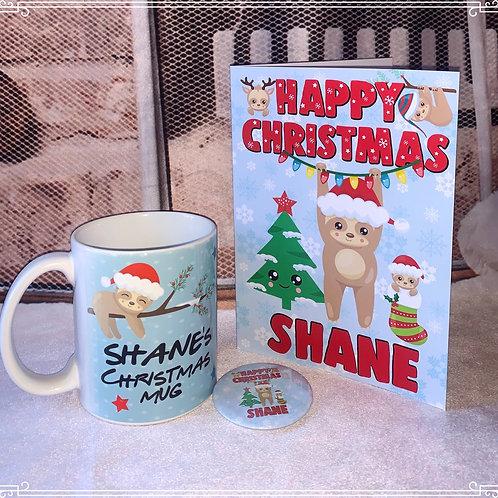 Sloth Gift Set Mug -Christmas Card - Badge