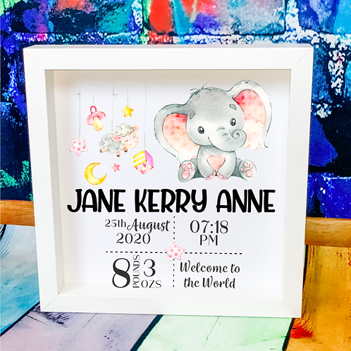 New Baby Girl Birth Announcement Box Frame - Elephant Design
