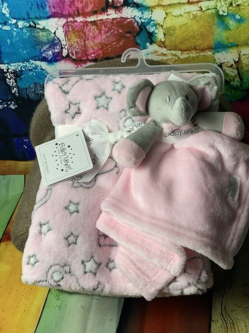 Pink Jacquard  Elephant Blanket & Comforter Set - Personalised